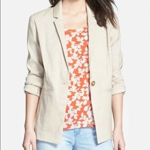 NWT Halogen Beige Linen Blazer Size Medium